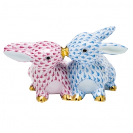 Herend Multicolor Porcelain Kissing Bunnies