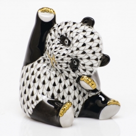 Herend Black Porcelain Playful Panda Figurine