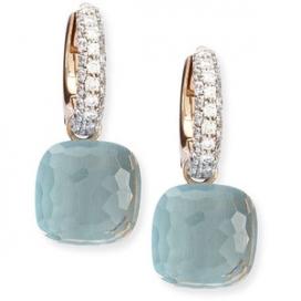 Pomellato 18KPG Nudo Blue Topaz Diamond Earrings