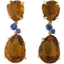 18KPG Bahia Madeira Quartz w/Sapphire Drop Earring