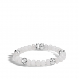 BAMBOO SILVER BRACELET WITH 9MM WHITE MOONSTONE