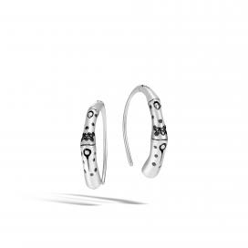 John Hardy Bamboo S Hook Earrings Black Sapphire