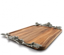 Vagbond House Acorn Oak & Leaf  Wood Tray Large