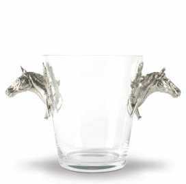 Vagabond House Glass Ice Bucket Horse Handles