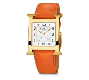 Hermes H-Our YG White Dial w/Orange Strap Qrtz