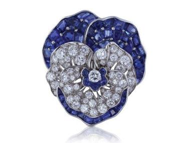 Sapphire and diamond pansy pin signed Oscar Heyman