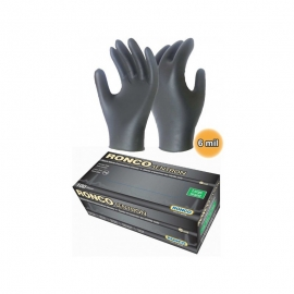 Sentron6 Black Nitrile Exam Gloves Medium