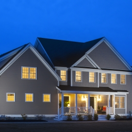 The Lancaster and Richmond Homestyles with an added Farmer's Porch are stunning, day and night.